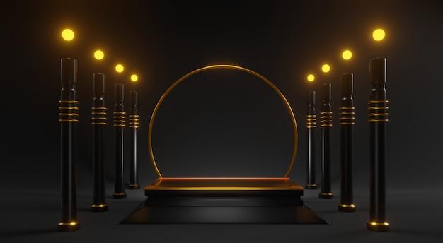 3d abstract gouden mock up met zwarte pilaren op zwart