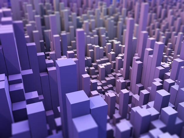 3d abstract landschap achtergrond met het extruderen van blokken