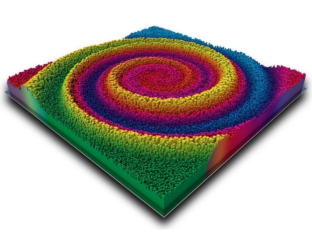 3d abstract landschap in regenboog gekleurde extruderen kubussen