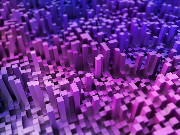3d abstract landschap van het uitdrijven van kubussen