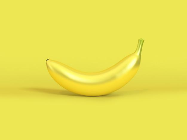3d abstract metaal geel fruit van de banaan geel 3d teruggevend aard