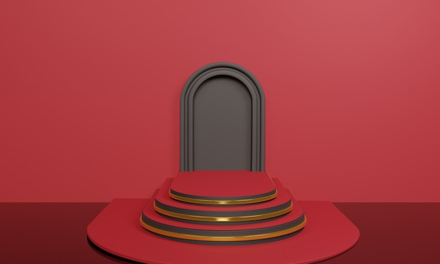 3d abstract rode trap op rood