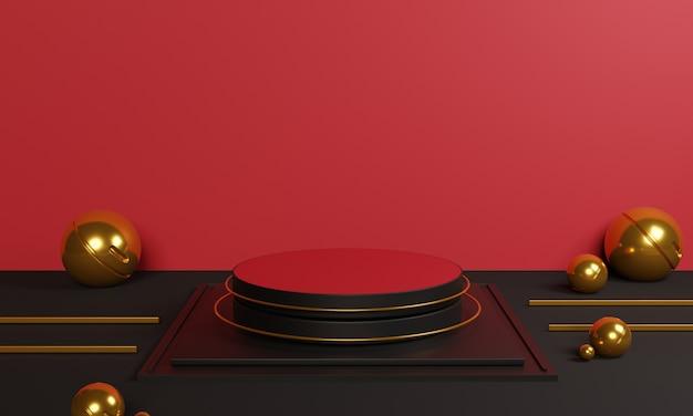 3d abstract rood podium met gouden decoratie op rood