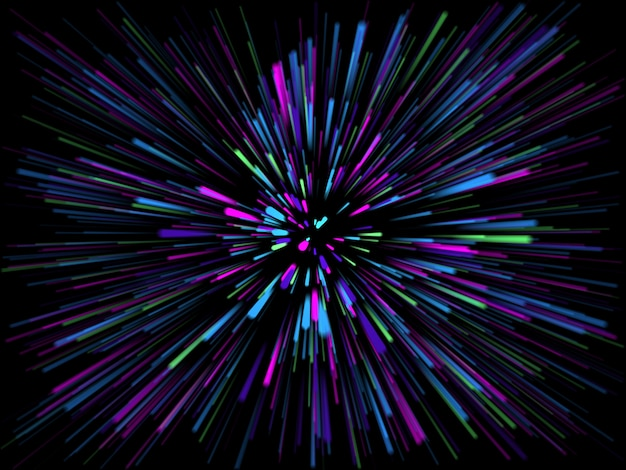 3d abstract starburst met lichtstralen
