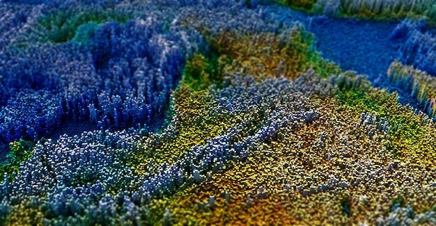 3d abstract topografisch landschap met het uitdrijven van kubussen