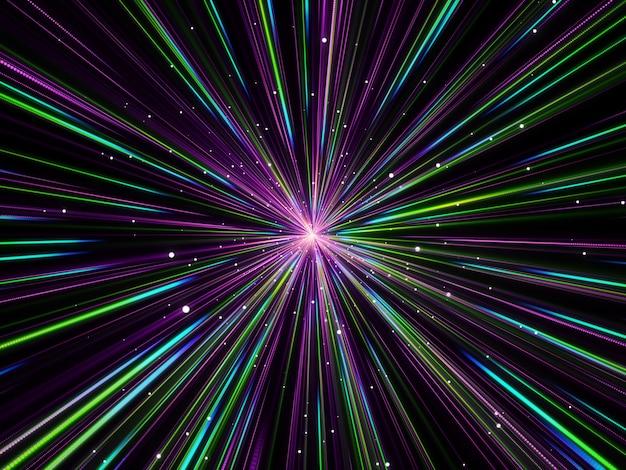 3d abstracte achtergrond met hyperspace gezoemeffect
