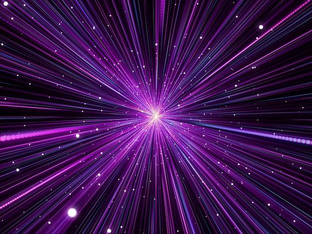 3d abstracte achtergrond met hyperzoom ruimte-effect
