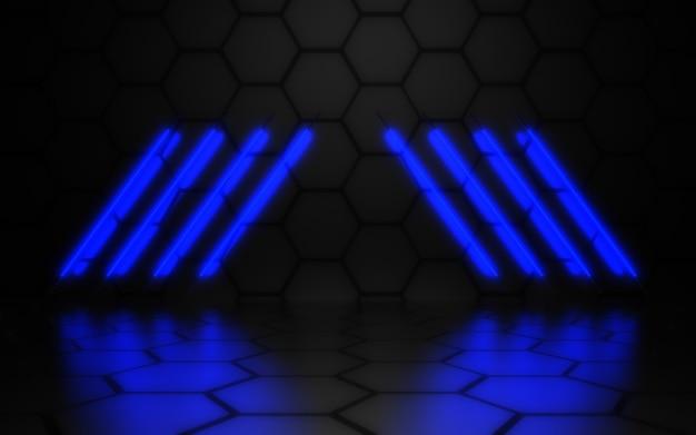 3d abstracte achtergrond met neonlichten. 3d-afbeelding