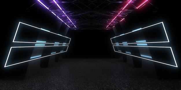 3d abstracte achtergrond met neonlichten. neon tunnel. 3d-afbeelding