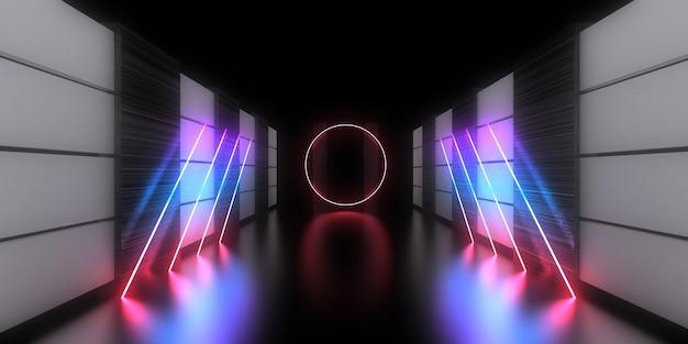 3d abstracte achtergrond met neonlichten. neon tunnel .space constructie. .3d illustratie
