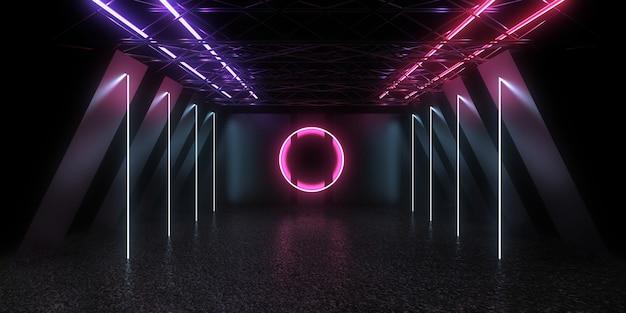 3d abstracte achtergrond met neonlichten. vinkje conceptl. 3d-afbeelding