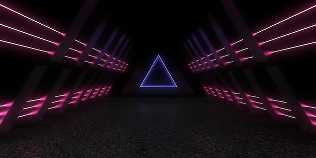 3d abstracte achtergrond met neonlichten