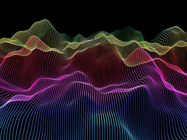 3d abstracte achtergrond met regenboog gekleurde vloeiende lijnen