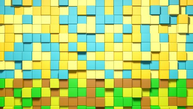 3d abstracte blauwe, gele, groene en bruine kubussenachtergrond