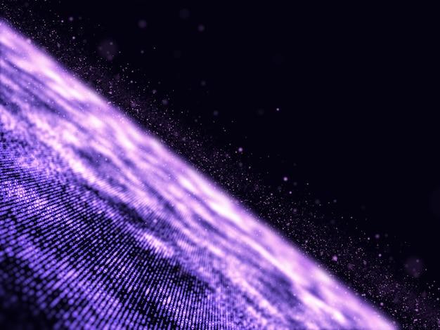 3d abstracte futuristische illustratie met deeltjes met ondiepe scherptediepte