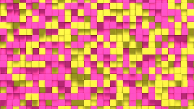 3d abstracte gele en roze kubussenachtergrond