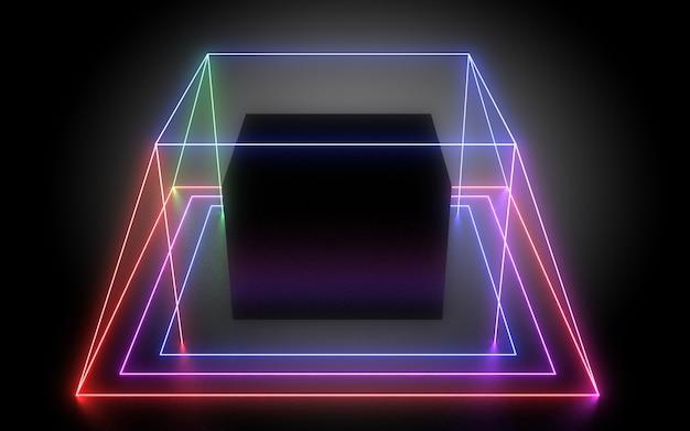 3d abstracte geometrische achtergrond met neonlichten. 3d illustratie