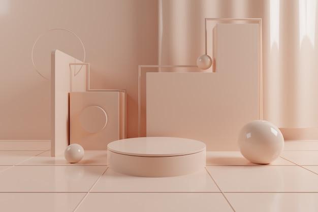 3d-abstracte geometrische scène met crème kleur podium op raster vloer.