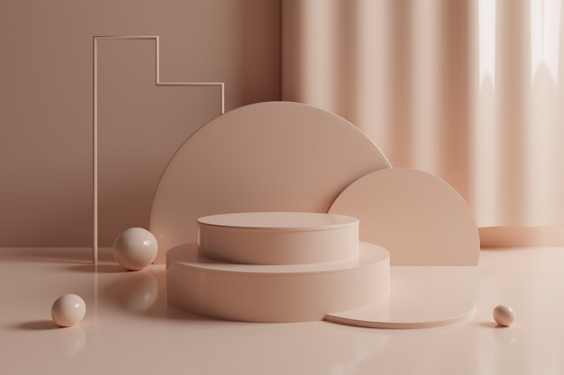 3d-abstracte geometrische scène met crème kleur podium.