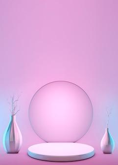 3d abstracte geometrische vorm pastel roze kleurenscène minimaal met decoratievazen en voetstuk, ontwerp voor cosmetisch of productvertoningspodium