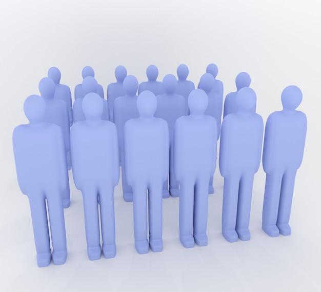 3d abstracte illustratie van negen blauwe mannelijke poppen geprofileerd op een witte achtergrond en oppervlak