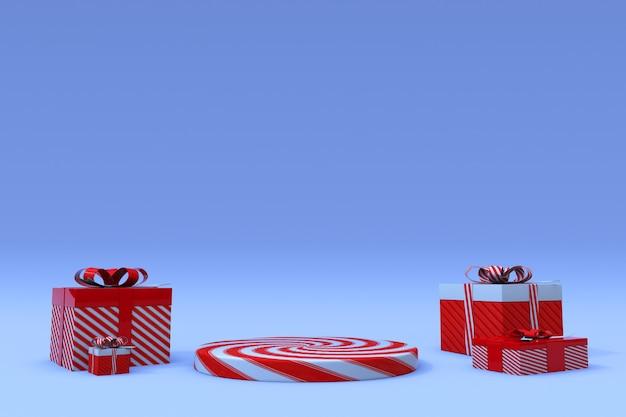 3d abstracte kerstmis blauwe achtergrond rode snoep podium met geschenkdoos gelukkig nieuwjaar studio