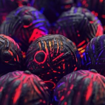 3d-abstracte kleurrijke compositie met zwarte bollen