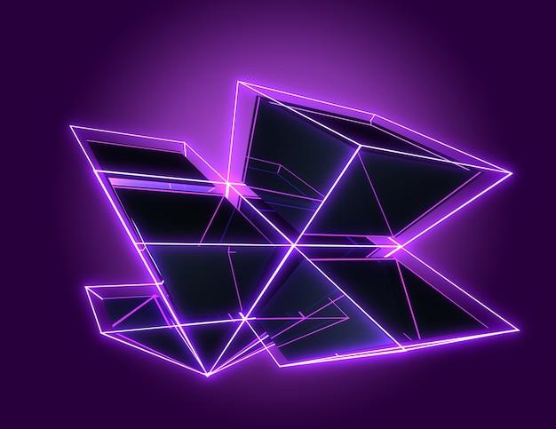 3d abstracte kubussenachtergrond met neonlichten. 3d illustratie3