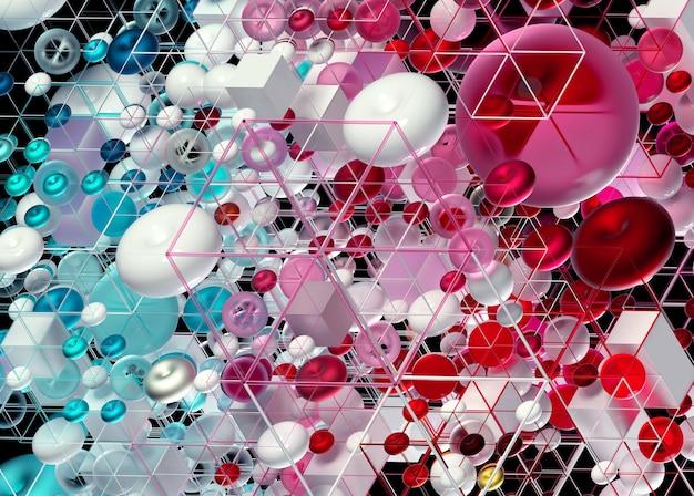 3d abstracte kunst met 3d achtergrond op basis van eenvoudige meetkundecijfers als torus van kubussenbollen