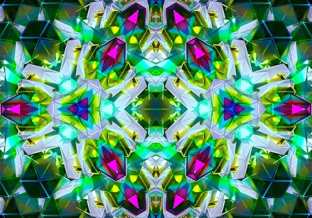 3d-abstracte kunst met surrealistische 3d-achtergrond van symmetrie cyber fractale structuur versierd in driehoeken