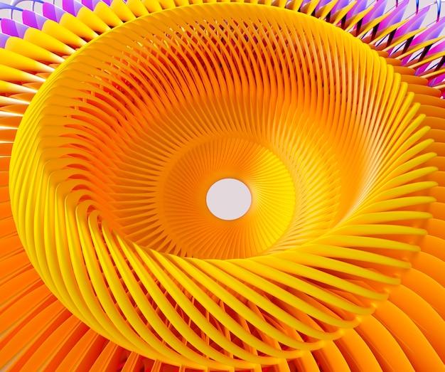 3d abstracte kunst met surrealistische turbinemotor met gedraaide structuur of sterzonbloem in geel