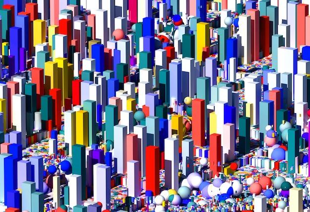 3d abstracte kunst surrealistische decoratieve 3d achtergrond met stadsgezicht op meetkundecijfers