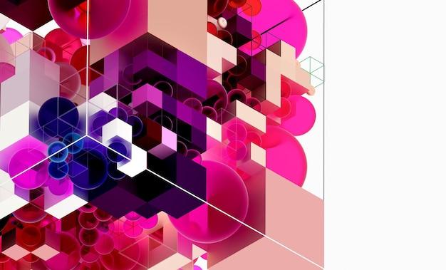 3d abstracte kunstachtergrond in isometrische weergave op basis van kleine en grote meetkundecijfers