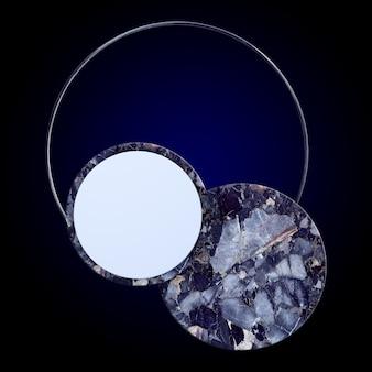 3d abstracte minimale donkerblauwe achtergrond met marmeren circus en ronde boog, geometrisch ontwerp, mockup
