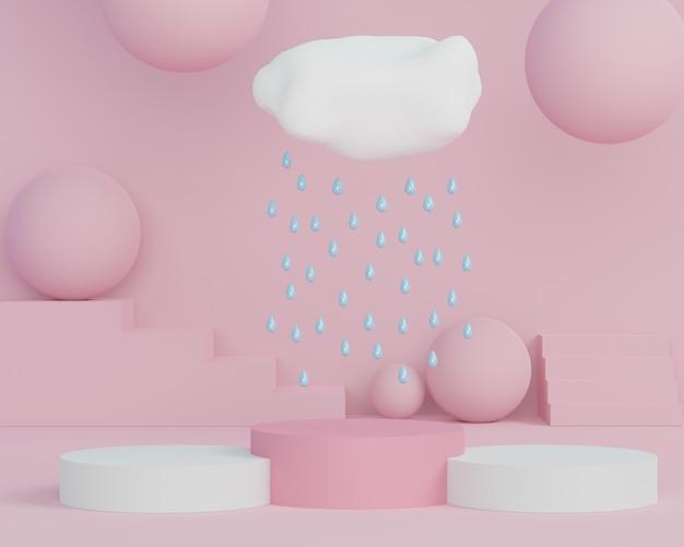3d-abstracte minimale geometrische vormen. glanzend luxe podium met wolken en regendruppel voor uw ontwerp. modeshow podium, voetstuk, winkelpui in kleurrijk thema.