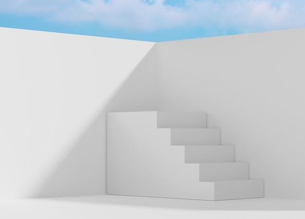 3d-abstracte minimale geometrische vormen. glanzend luxe podium voor uw ontwerp. modeshow podium, voetstuk, uitstalraam met blauwe lucht en de wolken.
