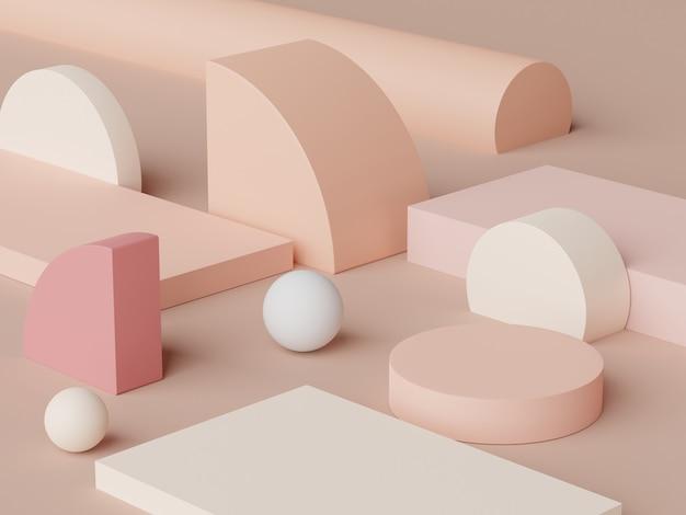 3d-abstracte minimale scène van pastelpodiumvertoning en presentatie van cosmetische producten