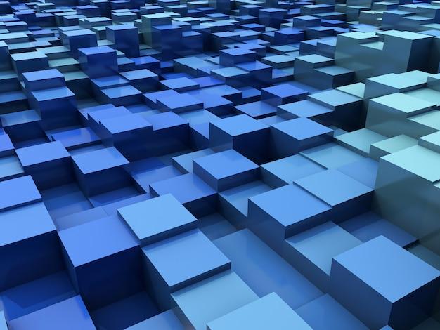 3d abstracte moderne achtergrond met het uitdrijven van blokken