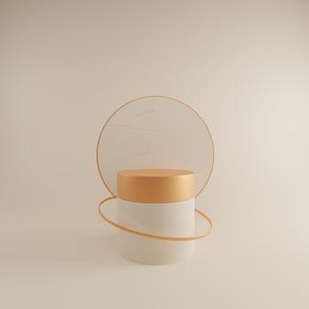3d abstracte ontwerpscène met roompodium.