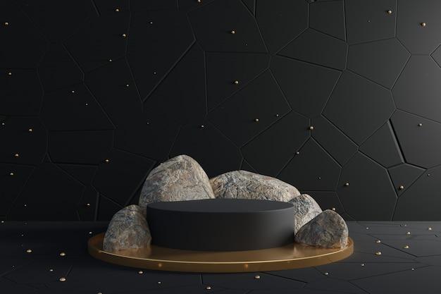 3d-abstracte ontwerpscène met zwart podium en realistische rotsen.