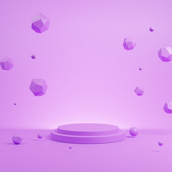 3d abstracte paarse scène met paars podiummodel.