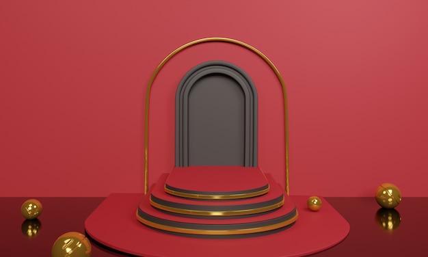 3d abstracte rode treden met gouden decoratie op rood