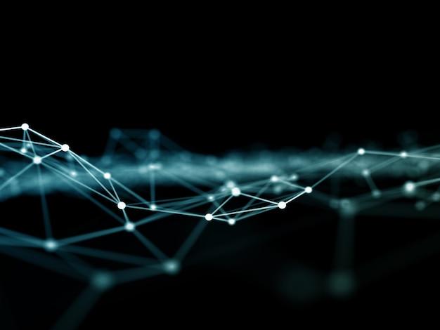 3d-abstracte stippen en lijnen verbonden