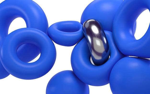 3d abstracte vliegende vormen die illustratie teruggeven. blauwe cirkels op witte achtergrond.