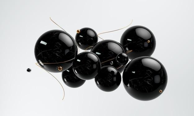 3d abstracte zwarte, gouden en zwarte geometrische vormen
