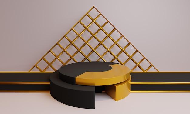 3d abstracte zwarte vormen met gouden decoratie.