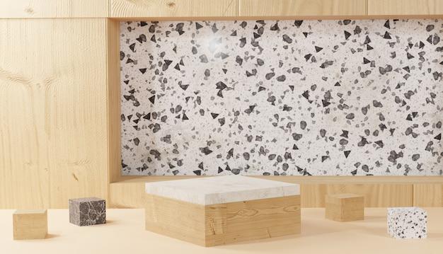 3d achtergrond die modern minimaal marmer en houten kubusstappodium teruggeeft