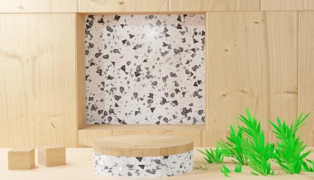 3d-achtergrond die witte terrazzo-podiumweergave en bladeren op houten achtergrond teruggeeft
