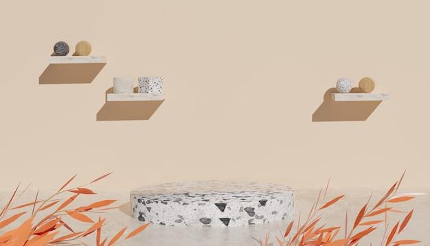 3d-achtergrond die witte terrazzo-podiumweergave en bladeren op zandachtergrond teruggeeft