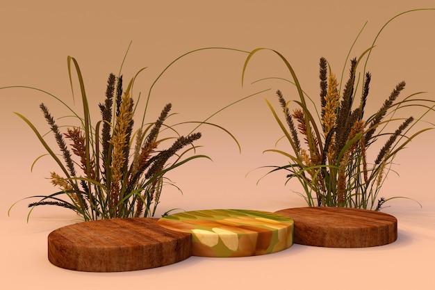 3d achtergrond houten ronde podium natuur droge plant herfst stijl cosmetische productpromotie